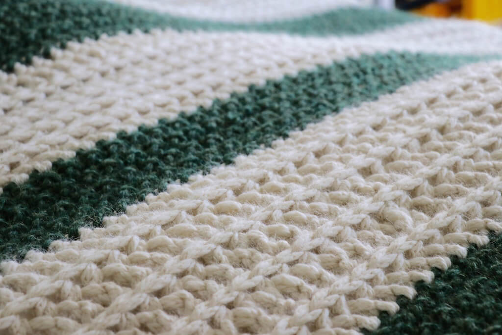 soft chunky striped crochet throw blanket