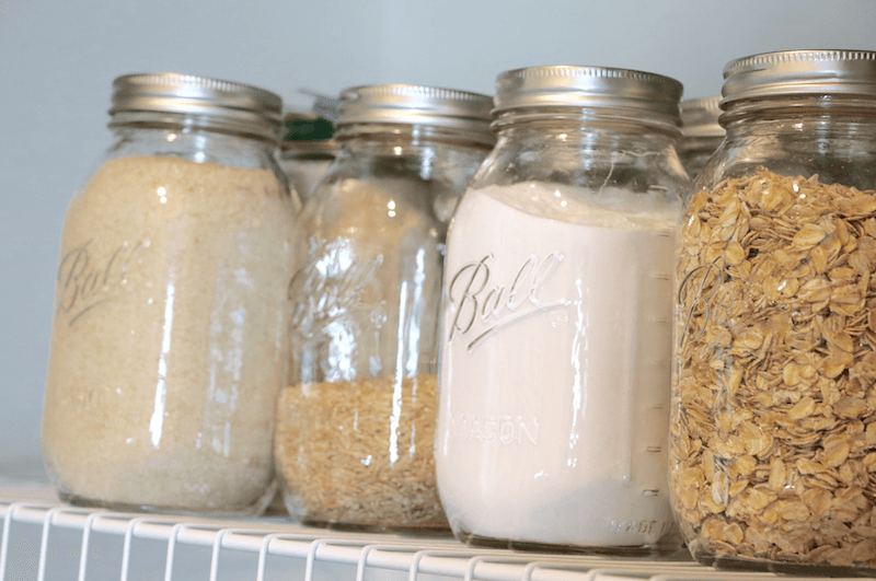 how to organize a small pantry- mason jars are a great way to store items neatly