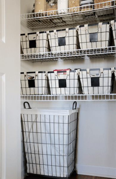 how to organize a small pantry. the after photo shows food neatly arranged in baskets. many items are now also stored in mason jars instead of bags