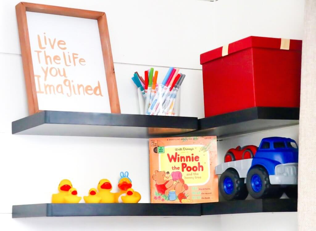 DIY Kids Room Makeover reveal-floating shelves