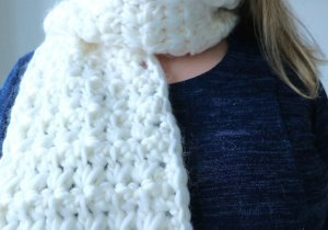 fluffy snowflake scarf crochet pattern-chain-finished