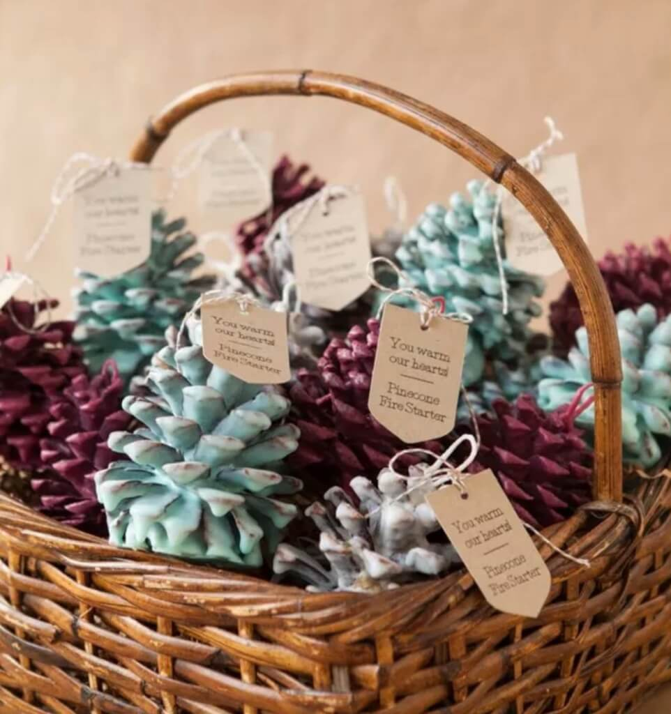 Christmas pine cone crafts- pine cone fire starters